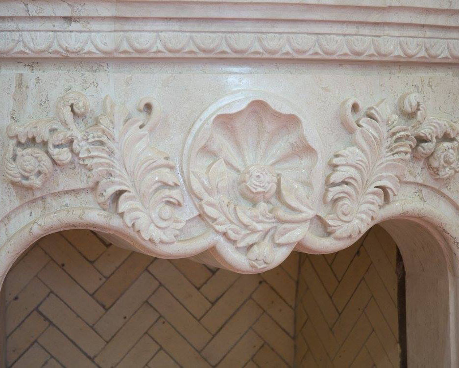 Carved Carrara Marble Fireplace