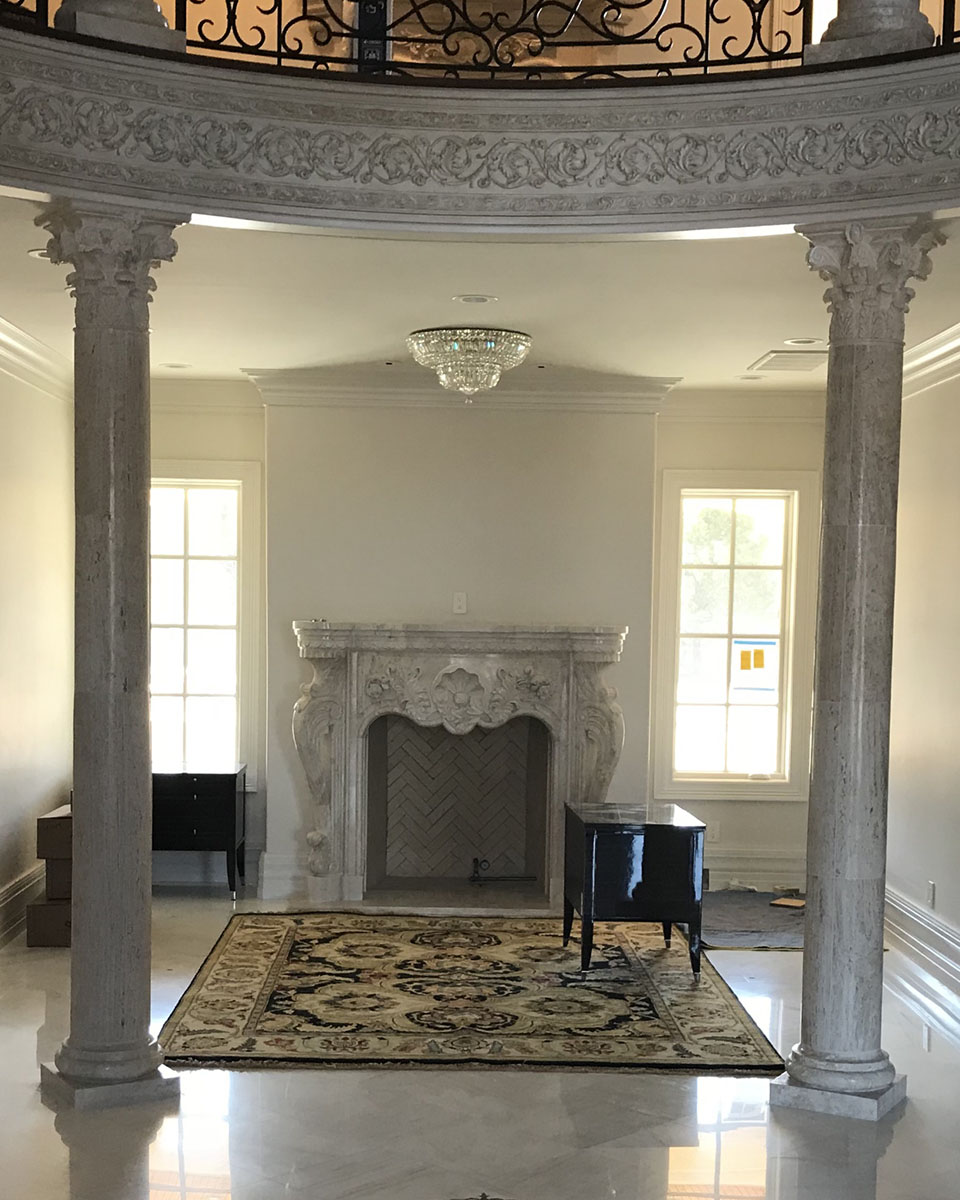 Stone Fireplace and Columns