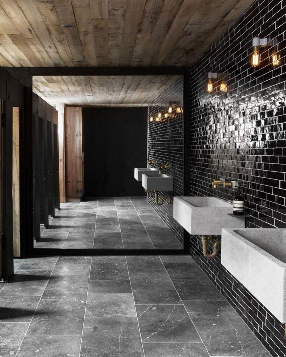 Black Zellige Tile for Commercial Bathroom
